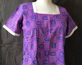 Vintage Indian Purple Blockprint Kirta Short Sleeve Tunic