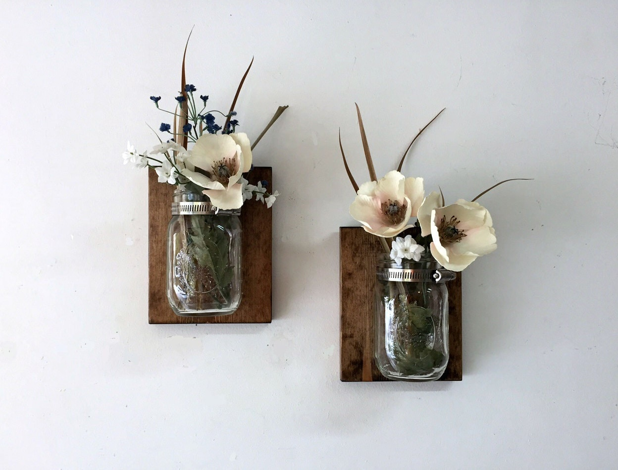 Mason Jar Vase Set Of 2 Mason Jar Sconce Wall Mason Jar