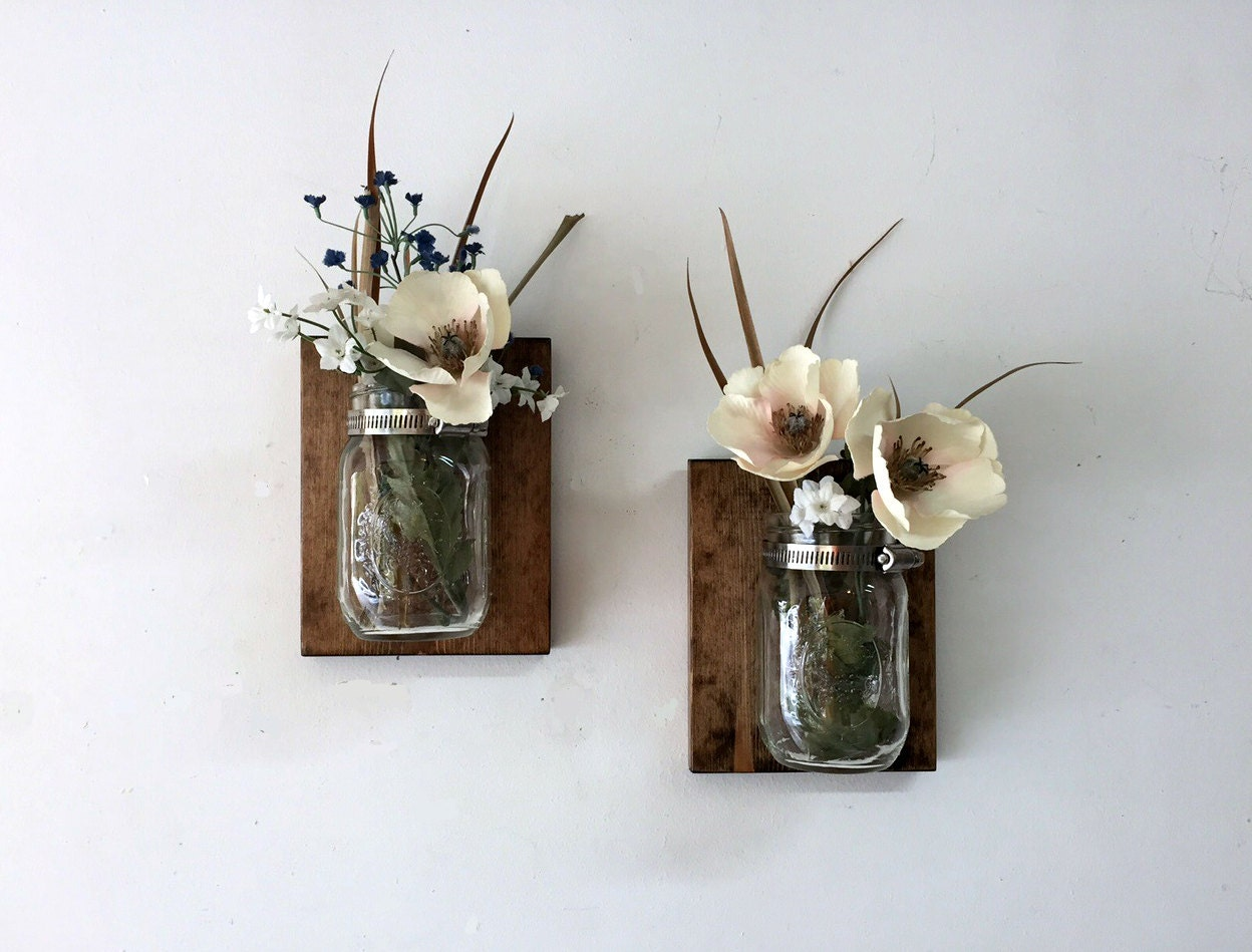Wall vases for flowers - Mason Jar Vase Set Of 2 Mason Jar Sconce Wall Mason Jar Farmhouse Hanging Mason Jar Bathroom Storage Mason Jar Planter Mason Jar Decor