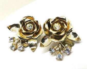 Gold and Rhinestone Rose Earrings - Vintage, Gold Tone, Clear Rhinestones, Coro Signed, Clip-on Earrings