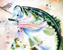 BASS Watercolor Print by Diana Turner, Wall Art Decor 11 x 14