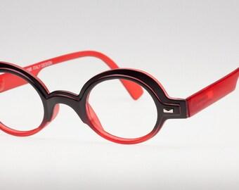 Red Eyeglass Frames, Round Matte Black & Red Reading Glasses, Round Eyeglasses Frame, Glasses for Reading, Optical Glasses Frame, Eyejets