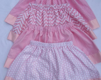 Girls pink skirt / satin edge/ 4 different patterns