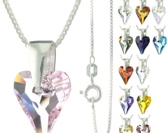 925 Sterling Silver Faceted Wild Heart Swarovski Crystal Pendant Necklace