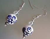Delft Blue Earrings, Handpainted Delft Blue Ceramic Bead, Crystal Gemstones, Sterling Silver Hooks, Girlfriend Gift, Handmade Earrings
