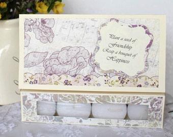Handmade Friendship card purple Floral Card paper handmade greeting card for friend, gift for friend, fancy handmade card