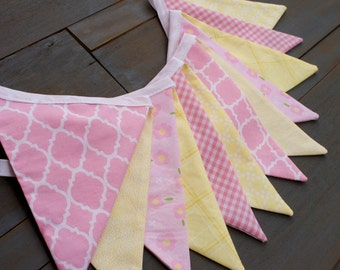 Pink & Yellow Lemonade Stand Fabric Bunting Pennant Banner for First Birthday Party, Nursery, Baby Shower, Bridal Shower or Photo Prop