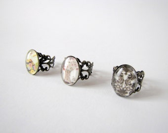 Adjustable cabochon rings - antique bronze support - retro style - several models available