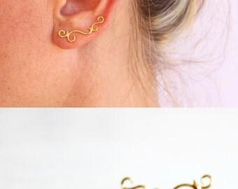 Gold ear crawler, ear climber, ear cuff, swirl earrings, trendy earrings.
