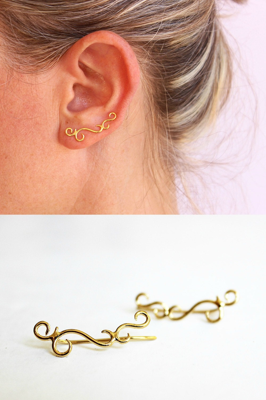 Gold Ear Crawler Ear Climber Ear Cuff Swirl Earrings