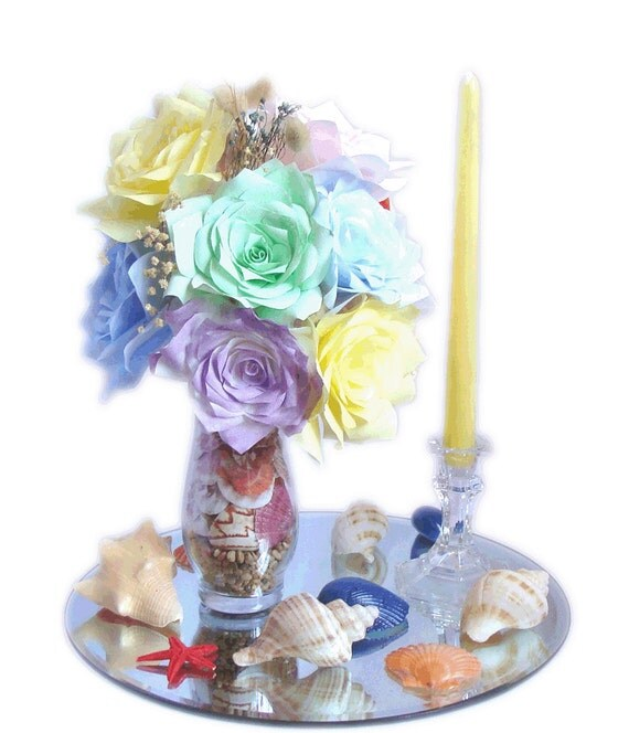 Beach floral decor beach themed wedding centerpiece by for Beach house designs florist