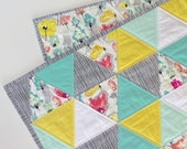 Summer Fields - made to order - triangle quilt - baby quilt - mint, turquoise, coral, and white