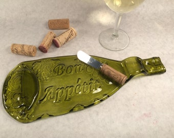 Melted Wine Bottle, Recycled Wine Bottle, Slumped Bottle, Fused Glass, Spoon Rest, Serving Dish, Cheese Platter, Wine Lover's Gift