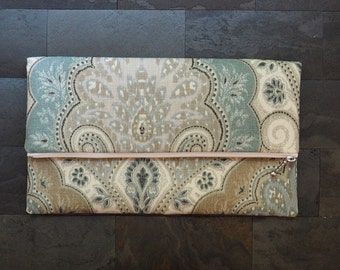 paisley linen foldover clutch, neutral beige blue purse, wedding bag, de almeida designs