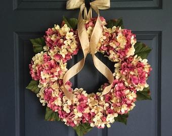 WREATHS | Hand Blended Hydrangea Wreath | Pink and Cream Colors | Summer Wreath | Front Door Wreaths | Door Wreath Decor