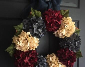 4th of July Patriotic Wreath | Americana Decor | Red, White, & Blue Wreath | Summer Wreath | Front Door Wreaths | Hydrangea Wreath