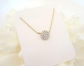 Gold Disc necklace, Bridesmaid necklace, CZ circle pendant necklace, Bridesmaid gift, Simple necklace, Bridal necklace, Crystal necklace