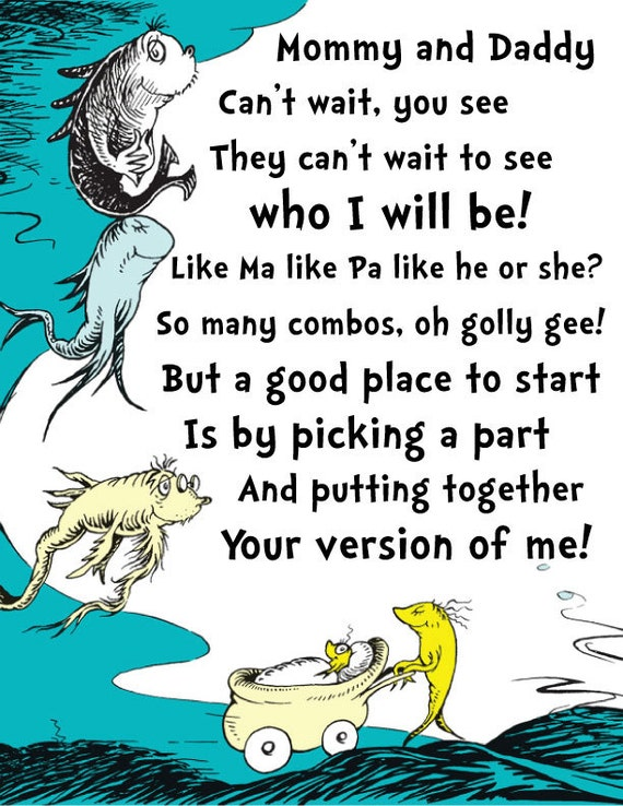 Dr. Seuss Baby Shower Activity Sign For what baby will look like (digital copy)