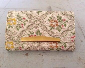 Vintage Key Wallet - Mid Century - Floral Tapestry - Vinyl