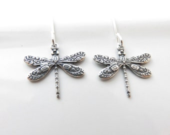 Small Dragonfly Earrings - Sterling Silver Dragonfly Earrings, Dragonfly Jewelry, Sterling Silver Earrings, Hypoallergenic, Insect Jewelry