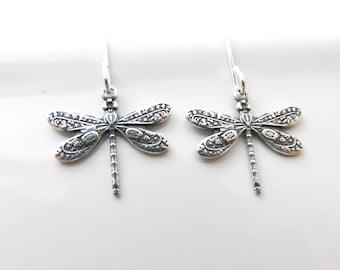 Little Dragonfly Earrings - Silver Dragonfly Earrings, Dragonfly Jewelry, Small Dragonfly Earrings, Sterling Silver Earrings, Hypoallergenic