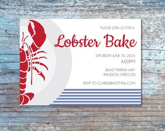 Lobster Bake Invitation- Lobster Bake Invite- Lobster Invitation
