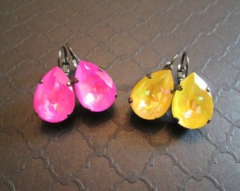 Gunmetal and Ultra Pink Swarovski Crystal Earrings/Statement Earrings/Hot Pink Crystal Earrings/Ultra Citrine Yellow Swarovski Earrings