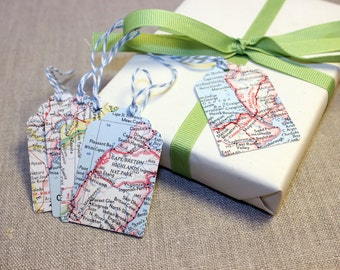 Vintage Map Wedding Favor Tag, Wedding Gift Tag, Bridal Shower Favor Tag, Thank You Tag, Gift Tags, World & Atlas Map
