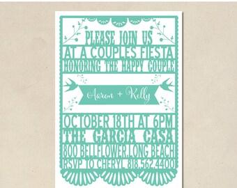 papel picado invitation - shower invitation - fiesta birthday - baby shower - modern simple shower - DIY - custom - digital printable