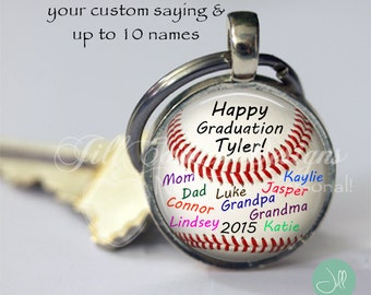 GRADUATION GIFT - graduation present- personalized baseball keychain - graduation gift from group - unique graduation gift