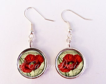 Red Poppy earrings - Poppies earrings - 16 mm Poppies