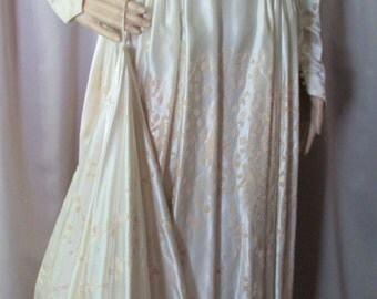 SALE! Vintage Wedding Gown Candlelight Satin Flocked Wedding Dress 1940 Wedding Dress