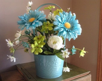 Gerbera Daisy, Peony, Silk Floral, Faux Flower Arrangement, Turquoise Flowers, Silk Floral Arrangement, Silk flowers, Flowers in Basket