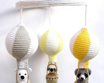Baby mobile, Yellow gray mobile, gray yellow mobile, gray yellow crib, yellow gray nursery, yellow grey elephant, yellow gray decor