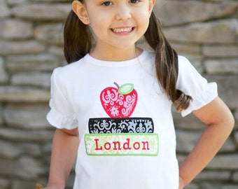 Girl School Shirt with Apple and Books and Embroidered Name