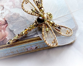Dragonfly jewelry Insect art brooch Dragonfly gold bronze green Dragon fly pin Luxury Birthday gift for Wife Gorgeous gift for beloved one