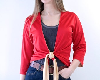 1970s Reversible Red and Gold Wrap Top