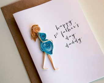 First Fathers Day Card - Happy 1st Fathers day - Fathers Day Card From Baby - Card from the bump - Baby bump card - New Dad Card
