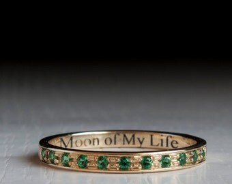 Gold Emerald half Eternity ring -   game of thrones- moon of my life - daenerys - dothraki- my sun and stars- green stone - stacking band