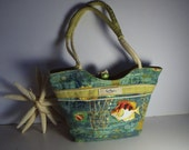 Womens Designer Canvas Bag/ Vintage Paul Brent Coastal Life/ Beach Ocean Fish Rope Braid/ Resort Tropical Mermaid Fun/ Unique gift under 25