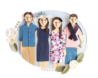 Custom Family Portrait made from Paper from Photo. 3d family paper art illustration – 4 Family Members