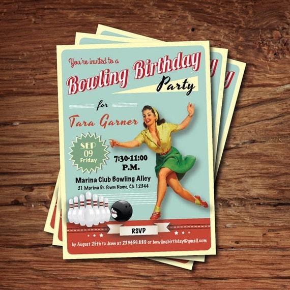 Bowling Einladung Geburtstag. Retro-Erwachsenen-Geburtstag.