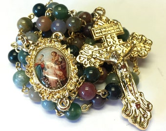Indian Agate Catholic Handmade Rosary with Pardon Crucifix and Holy Family Center