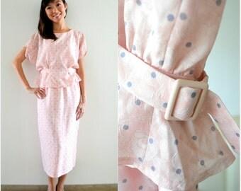 RESERVED// 1940 Vintage Dress/ Secret Garden Dress/ Medium Dress/ Light Pink Dress/ Polka Dot Dress/ Peplum Dress/ Button Back Dress