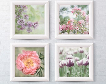 Floral Photography Gallery Wall Set of 4 - Pastel Pink Peony - Lilac - Apple Blossoms - Purple Tulips - Fine Art Photo Prints for Home Decor