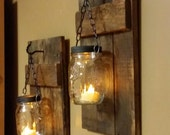Rustic Wood Candle Holder, Rustic Home  Decor,  sconce candle holder, Rustic Lantern, Mason Jar wood candle,  Candle holders  priced 1 each