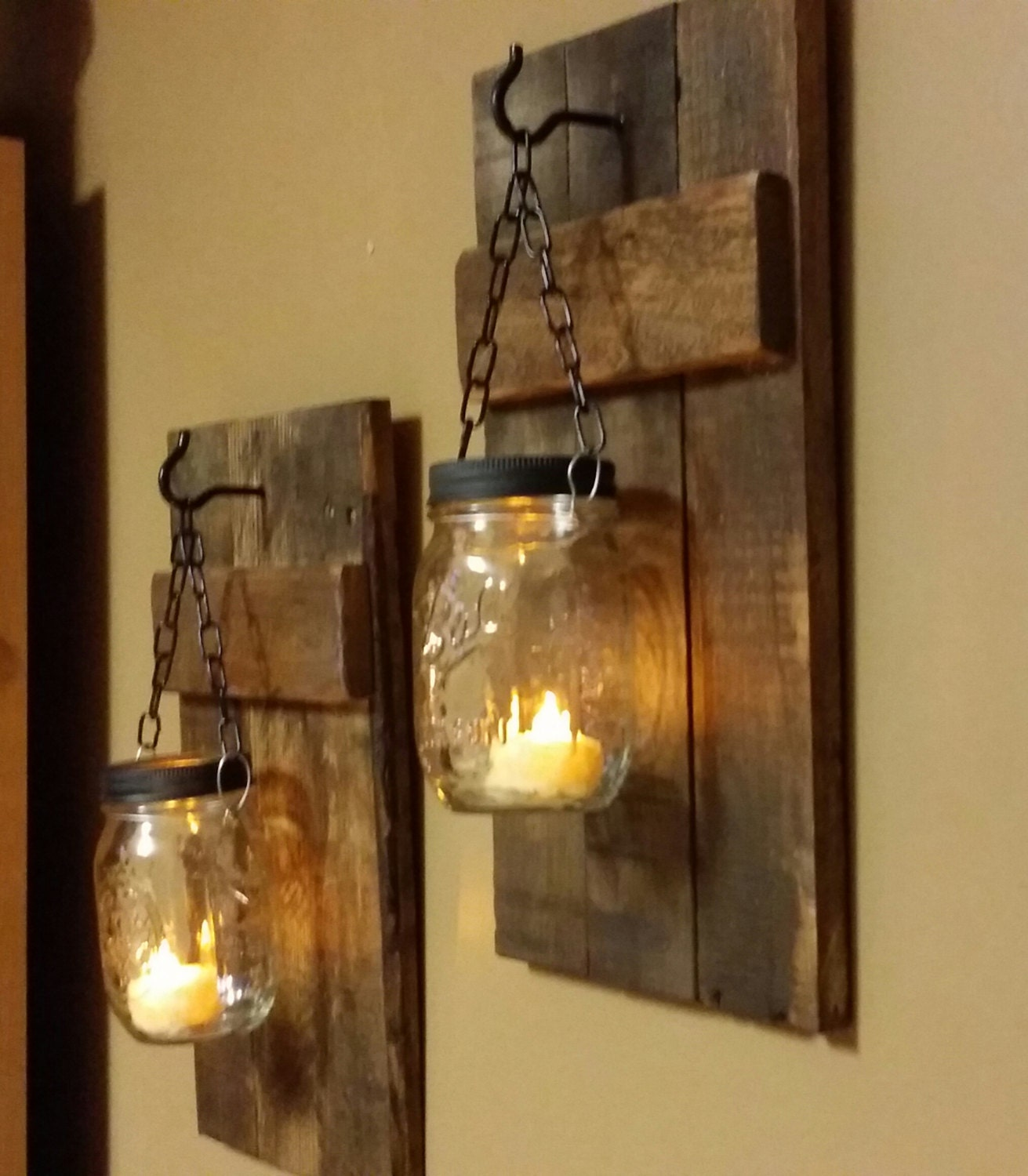Homemade Rustic Wall Decor : Rustic wood candle holder home by teestransformations