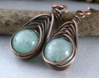 Grade 1 Titanium Earrings Green Aventurine Earrings Antiqued Copper Earrings Wire Wrapped Earrings Handmade Wire Earrings Herringbone Wrap