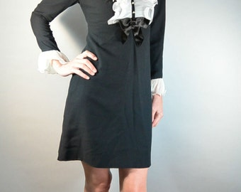 60s Mod Dress// Wendy Adams Dress// Tuxedo Style 60s Dress// Mad Men Dress