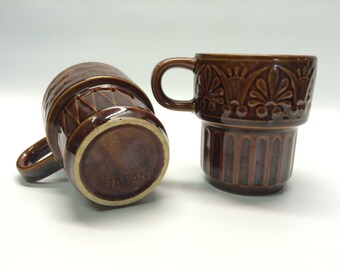 Vintage Japan Brown Glazed Stacking Mugs / Coffee Cups / Set of 2